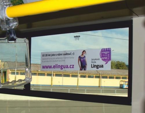 Interiérová samolepka na okna autobusu (50x12 cm)